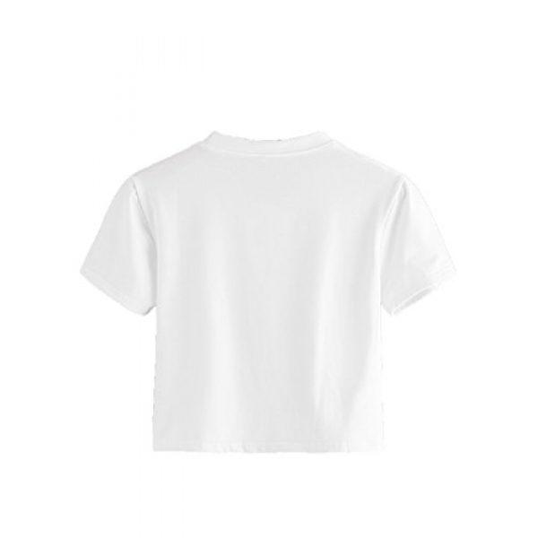 SweatyRocks Graphic Tshirt 2 Women's Casual Short Sleeve Crew Neck Basic Crop Top T Shirts