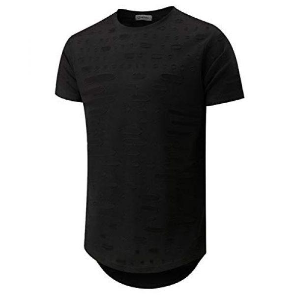 KLIEGOU Graphic Tshirt 1 Mens Hipster Hip Hop Ripped Round Hemline Hole T Shirt (05-3)