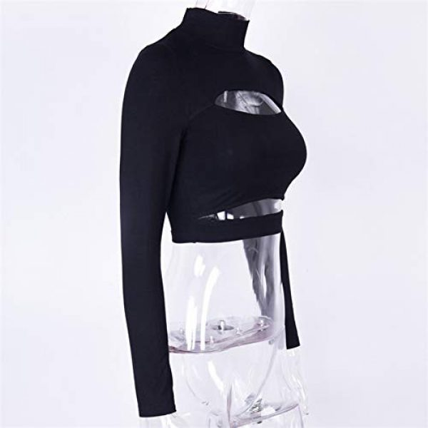 Susupeng Graphic Tshirt 5 Women Mock Neck Long Sleeve Cut Out Open Front Crop Top Tee Tops Slim Short T-Shirt