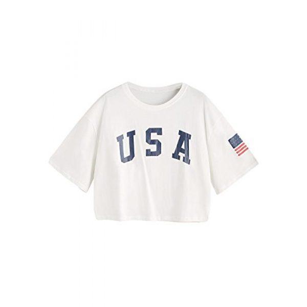 HUILAN Graphic Tshirt 1 Women's USA Letter Print Crop Tops Summer Short Sleeve T-Shirt