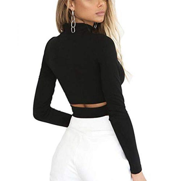 Susupeng Graphic Tshirt 3 Women Mock Neck Long Sleeve Cut Out Open Front Crop Top Tee Tops Slim Short T-Shirt