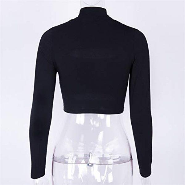 Susupeng Graphic Tshirt 6 Women Mock Neck Long Sleeve Cut Out Open Front Crop Top Tee Tops Slim Short T-Shirt