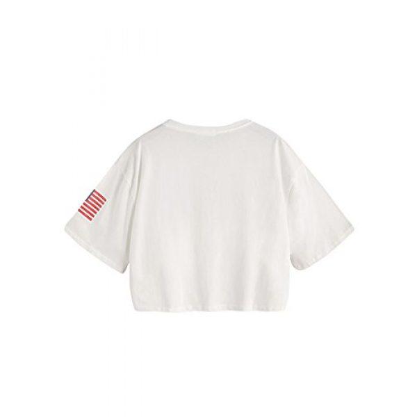 HUILAN Graphic Tshirt 2 Women's USA Letter Print Crop Tops Summer Short Sleeve T-Shirt
