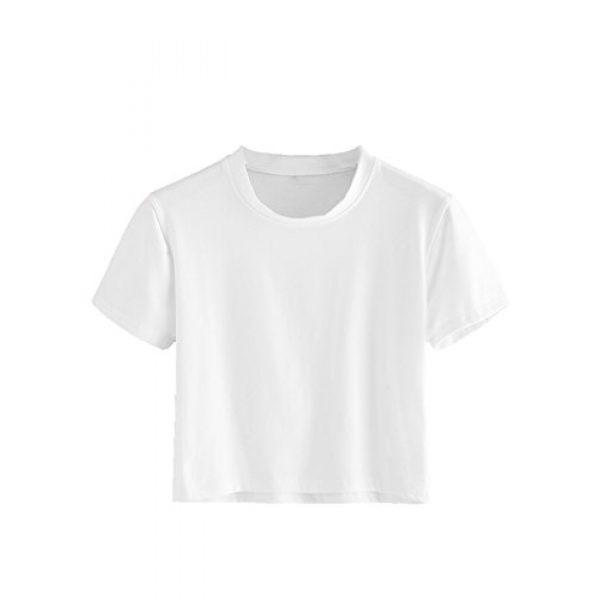 SweatyRocks Graphic Tshirt 1 Women's Casual Short Sleeve Crew Neck Basic Crop Top T Shirts