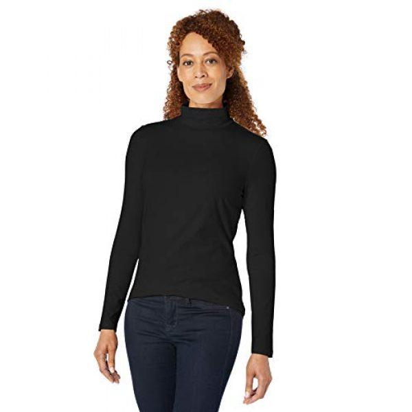 Amazon Essentials Graphic Tshirt 3 Women's Classic-Fit Long-Sleeve Mockneck Top