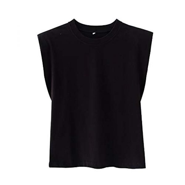FENGQIYUNHAI Graphic Tshirt 3 Women T Shirt with Shoulder Pads Casual Loose Tank Tops and Tees
