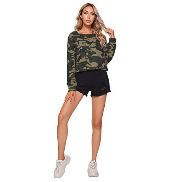 SweatyRocks Graphic Tshirt 5 Women's Tshirt Long Sleeve Distressed Crop T-Shirt Top