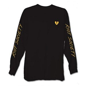 Riot Society Graphic Tshirt 1 Broken Heart Embroidered Mens Long Sleeve T-Shirt - Black (Yellow Heart), X-Large