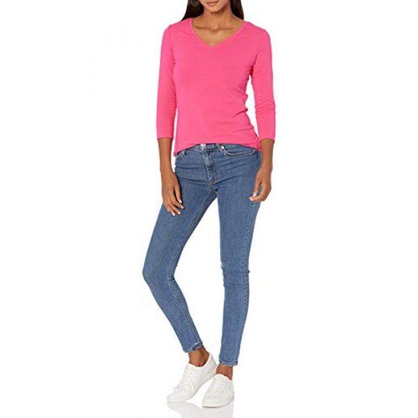 Amazon Essentials Graphic Tshirt 4 Women's Classic-Fit 3/4 Sleeve V-Neck T-Shirt