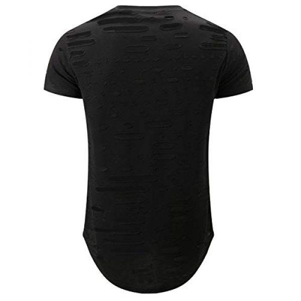 KLIEGOU Graphic Tshirt 2 Mens Hipster Hip Hop Ripped Round Hemline Hole T Shirt (05-3)