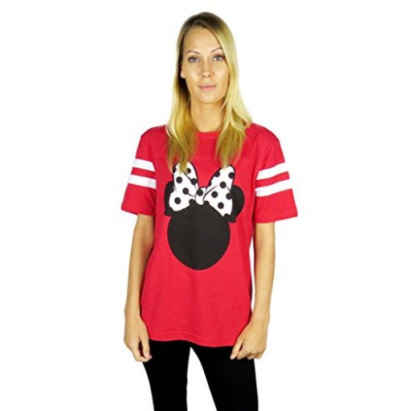 Disney Graphic Tshirt 3 Womens Minnie Mouse Varsity Football Tee Red
