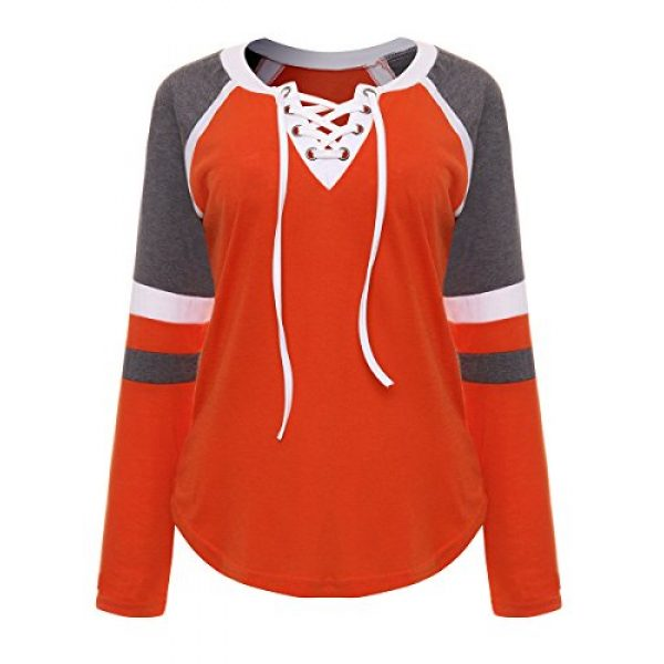 Famulily Graphic Tshirt 2 Women's Lace Up Front Long Sleeve Tops Striped Crew Neck Raglan Baseball Tee Shirt