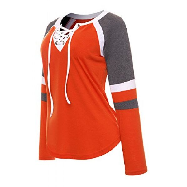 Famulily Graphic Tshirt 3 Women's Lace Up Front Long Sleeve Tops Striped Crew Neck Raglan Baseball Tee Shirt