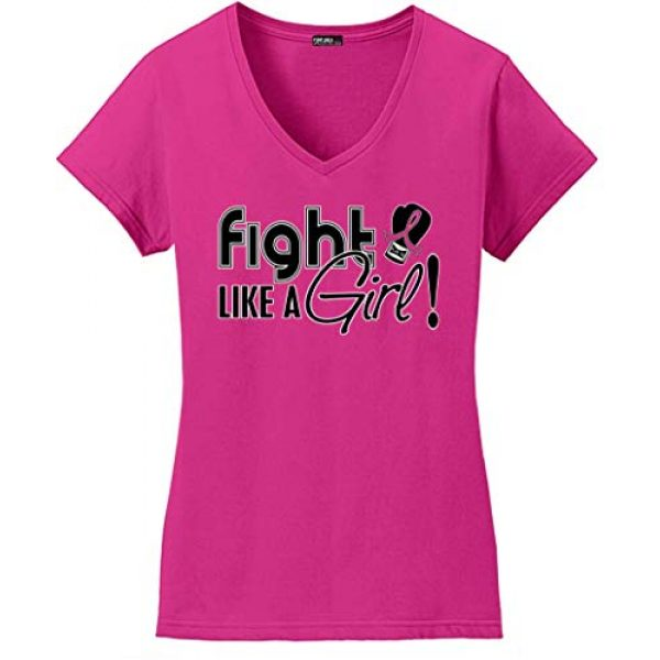 Fight Like a Girl Graphic Tshirt 1 Signature Breast Cancer T-Shirt Ladies V-Neck Hot Pink