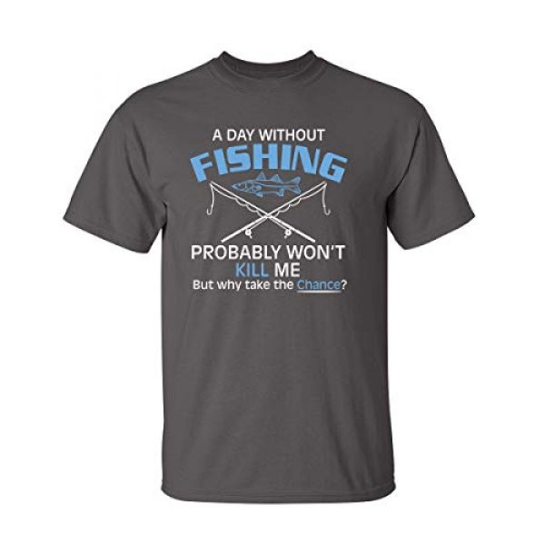 Feelin Good Tees Graphic Tshirt 1 A Day Without Fishing Probably Won't Kill Me Gift Idea to Dad Funny T Shirt