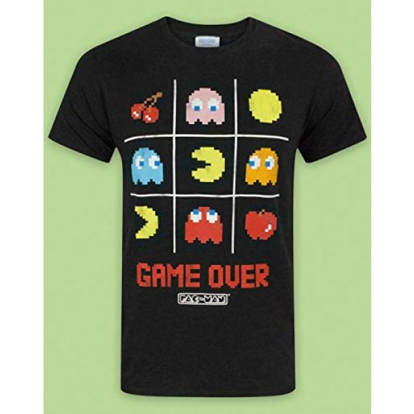 """Pac-Man Graphic Tshirt 2 """"Game Over Men's Official Tic Tac Toe Retro Character T-Shirt"""