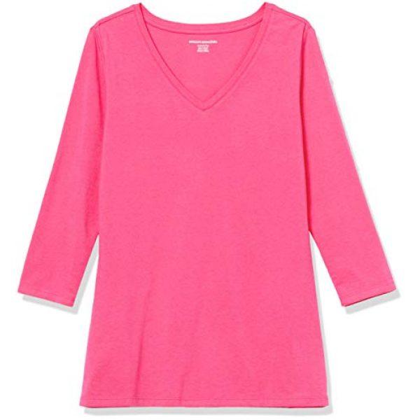 Amazon Essentials Graphic Tshirt 5 Women's Classic-Fit 3/4 Sleeve V-Neck T-Shirt