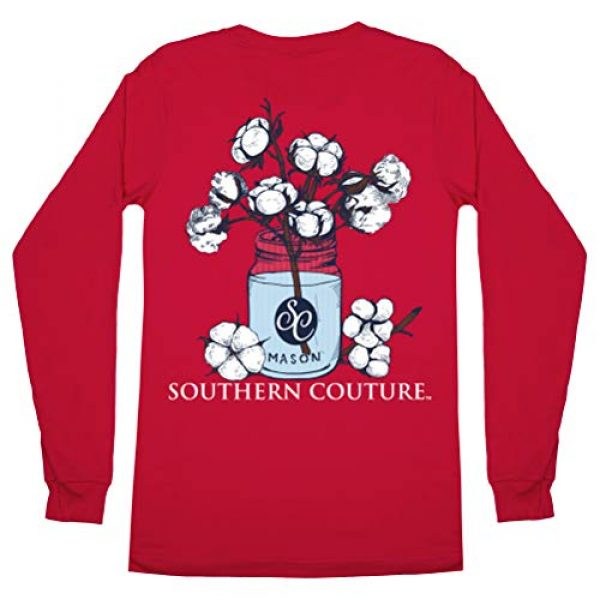Southern Couture Graphic Tshirt 1 SC Comfort Mason Jar Cotton on Long Sleeve Womens Fit Shirt - Red