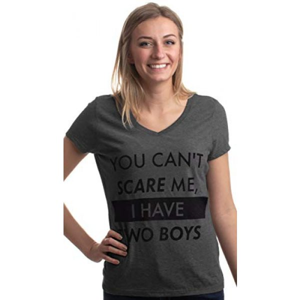Ann Arbor T-shirt Co. Graphic Tshirt 3 You Can't Scare Me, I Have Two Boys   Funny Sons Mom Mommy V-Neck T-Shirt Women