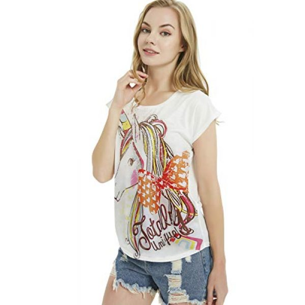 futurino Graphic Tshirt 3 Women's Summer Colorful Bow Tie Unicorn Print Short Sleeve T-Shirt Tops