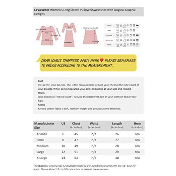 LAVIELENTE FASHION Graphic Tshirt 4 LaVieLente Women's Cotton Long Sleeve Graphic Sweatshirt Crewneck Pullover