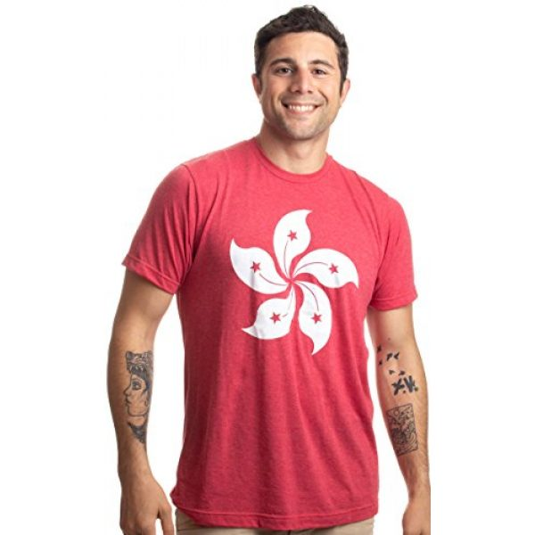 Ann Arbor T-shirt Co. Graphic Tshirt 3 Hong Kong Flag | Bauhinia Orchid Flower HK China Poster Art Kowloon Asia T-Shirt