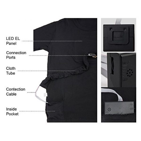 SOOOEC Graphic Tshirt 5 LED T Shirt Sound Activated Glow Shirts Light up Equalizer Clothes for Party