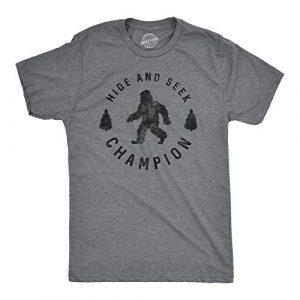 Crazy Dog T-Shirts Graphic Tshirt 1 Mens Hide and Seek Champion T Shirt Funny Bigfoot Tee Humor Cool Graphic Print