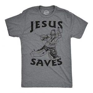 Crazy Dog T-Shirts Graphic Tshirt 1 Jesus Saves Hockey Goal T Shirt Funny Religious Christian Faith Hilarious Tee