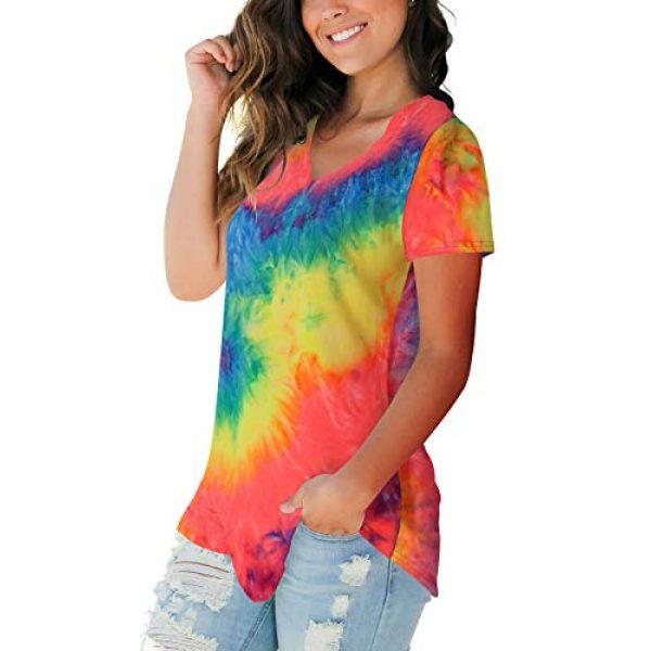 FOWSMON Graphic Tshirt 2 Women's Casual V Neck Short Sleeve Tops Basic Summer T Shirts