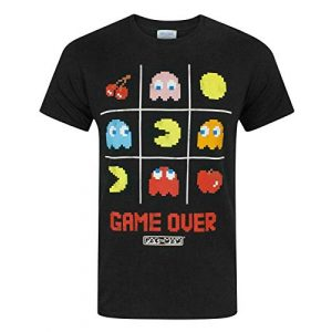 "Pac-Man Graphic Tshirt 1 ""Game Over Men's Official Tic Tac Toe Retro Character T-Shirt"