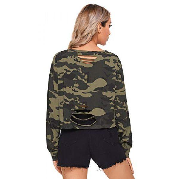 SweatyRocks Graphic Tshirt 4 Women's Tshirt Long Sleeve Distressed Crop T-Shirt Top