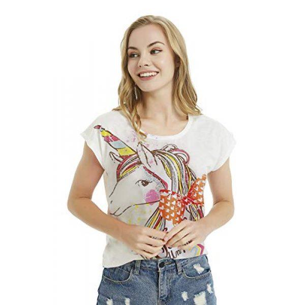 futurino Graphic Tshirt 2 Women's Summer Colorful Bow Tie Unicorn Print Short Sleeve T-Shirt Tops
