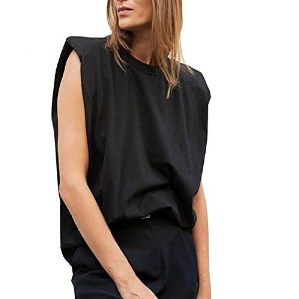FENGQIYUNHAI Graphic Tshirt 1 Women T Shirt with Shoulder Pads Casual Loose Tank Tops and Tees