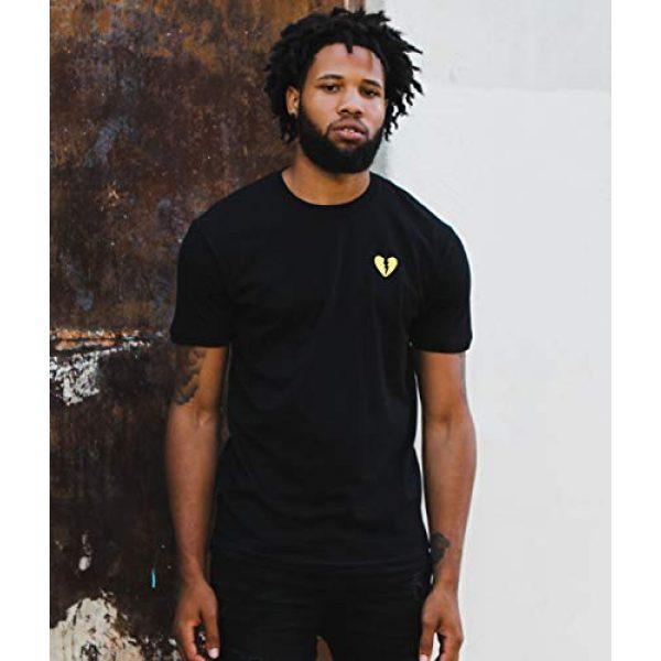 Riot Society Graphic Tshirt 6 Broken Heart Embroidered Mens T-Shirt - Black (Yellow Heart), Medium