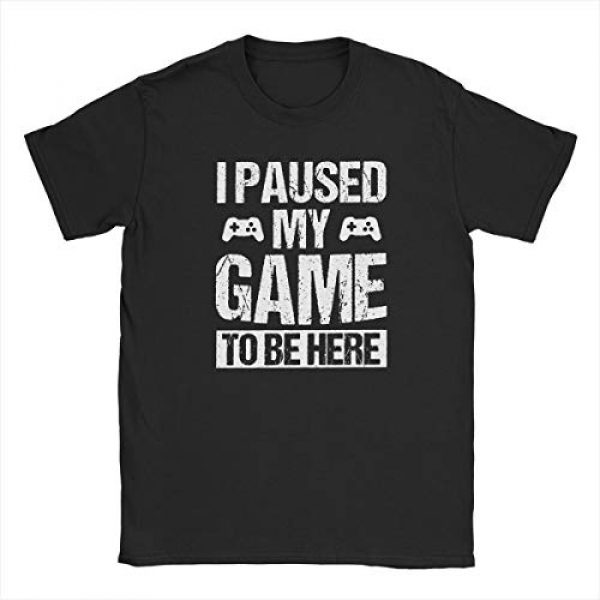 CHAMPRINT Graphic Tshirt 2 I Paused My Game to Be Here Funny T Shirt Gamer Gaming Player Humor Tees Tops for Men