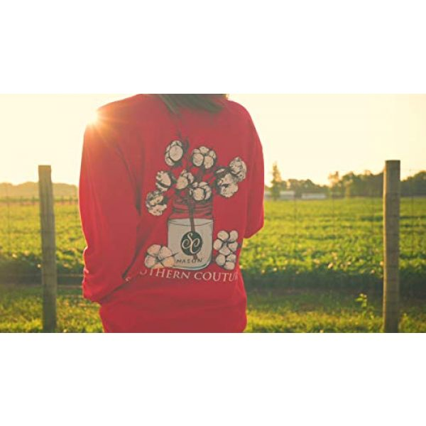 Southern Couture Graphic Tshirt 3 SC Comfort Mason Jar Cotton on Long Sleeve Womens Fit Shirt - Red