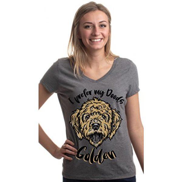 Ann Arbor T-shirt Co. Graphic Tshirt 3 I Prefer My Doods Golden   Funny Goldendoodle Golden Doodle Dog V-Neck T-Shirt