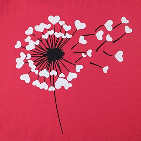 Binshre Graphic Tshirt 2 Women Love Dandelion Graphics Shirt Heart Print Novelty Short Sleeve Tops Tees