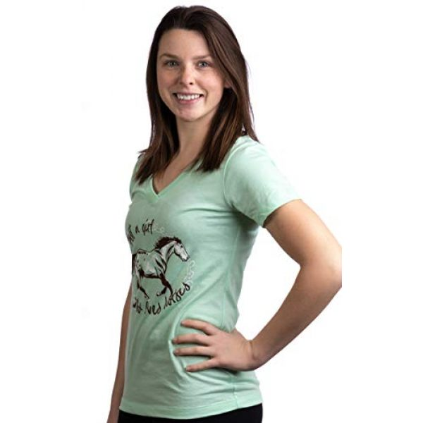 Ann Arbor T-shirt Co. Graphic Tshirt 3 Just a Girl who Loves Horses   Cute Girl Riding Rider V-Neck Young Women T-Shirt