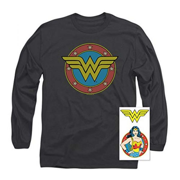 Popfunk Graphic Tshirt 2 Wonder Woman Vintage Logo DC Comics Longsleeve T Shirt & Stickers