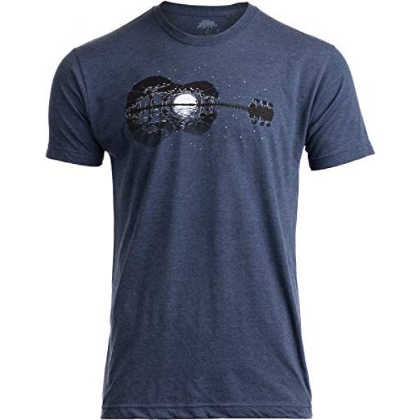 Ann Arbor T-shirt Co. Graphic Tshirt 1 Acoustic Guitar Moonrise | Guitarist Musician Music Player for Man Woman T-Shirt