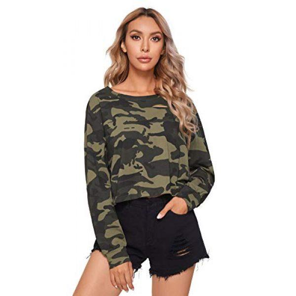 SweatyRocks Graphic Tshirt 2 Women's Tshirt Long Sleeve Distressed Crop T-Shirt Top