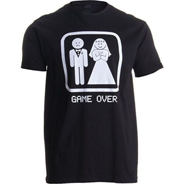Ann Arbor T-shirt Co. Graphic Tshirt 1 Game Over | Funny Bachelor Party, Wedding Groomsman Humor Groom Men T-Shirt