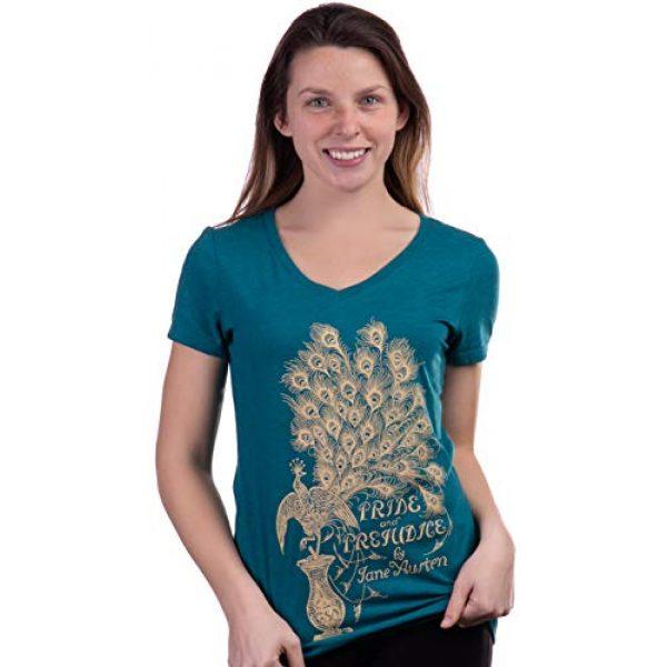Ann Arbor T-shirt Co. Graphic Tshirt 2 Pride & Prejudice | Jane Austen 1813 Romance Book Club Reader Reading Women's V-Neck T-Shirt Top