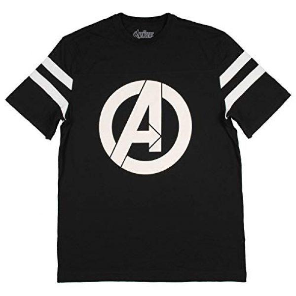 Marvel Graphic Tshirt 2 Womens Avengers Logo Varsity Football Tee Black