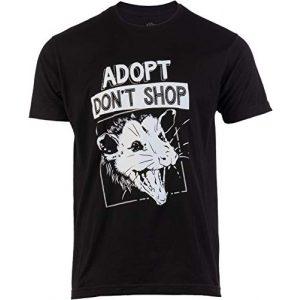 Ann Arbor T-shirt Co. Graphic Tshirt 1 Adopt, Don't Shop Screaming Opposum | Funny Sarcastic Saying Phrase Men Women T-Shirt