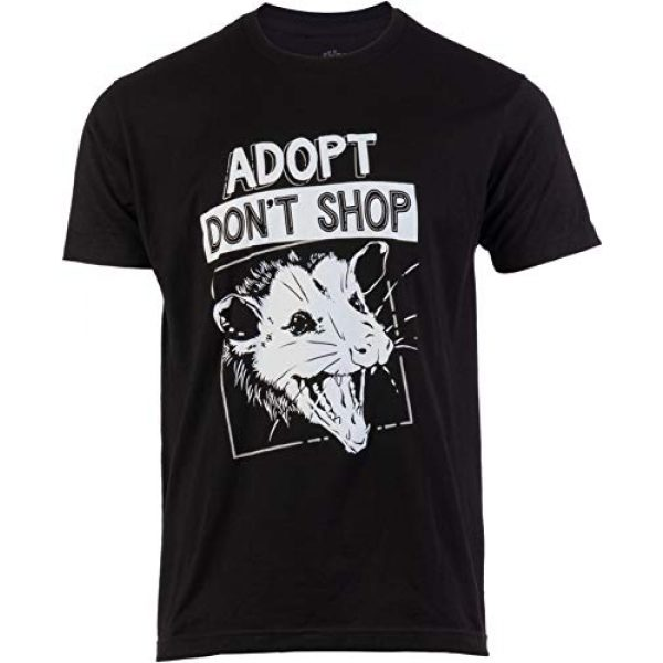 Ann Arbor T-shirt Co. Graphic Tshirt 1 Adopt, Don't Shop Screaming Opposum | Funny Sarcastic Saying Phrase Men Women T-Shirt