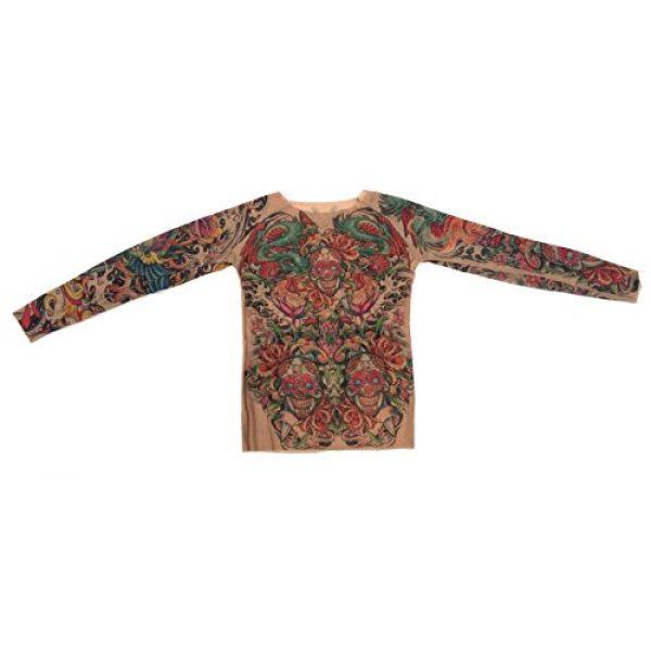 Wild Rose Graphic Tshirt 3 Ladies Sugar Skulls Bright Tattoo Mesh Shirt, Tan