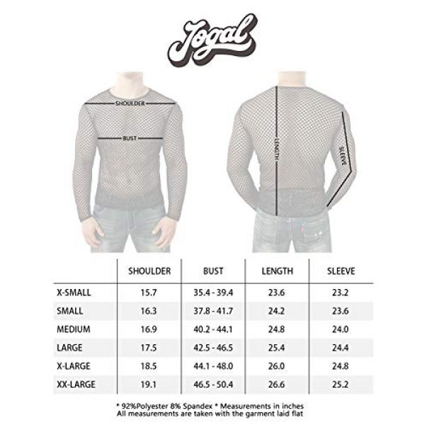 JOGAL Graphic Tshirt 7 Men's Mesh Fishnet Fitted Long Sleeve Muscle Top